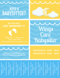 Yellow and Blue Babysitting Service Ad with T Volante (Carta US) template