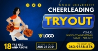 Yellow and Blue Cheerleader Tryout Facebook P template