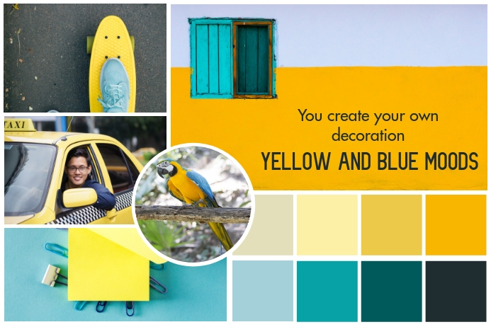 Yellow and Blue Moodboard Poster