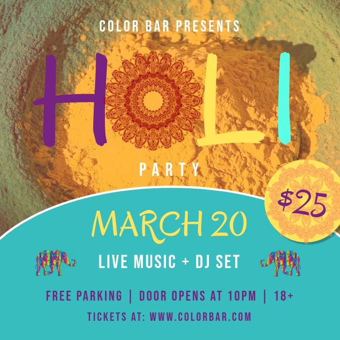 Yellow and Green Holi Party Square Video
