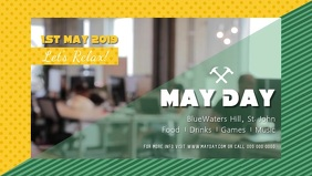 Yellow and Green Labor Day Facebook Cover Video
