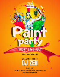 Yellow and Orange Paint Party Poster