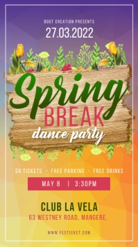 Yellow and purple spring break dance party In Instagram-Story template