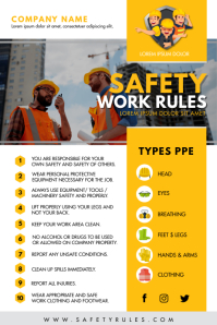 Yellow and White Construction Work Safety Fly