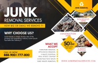 Yellow and White Junk Removal Poster Design Póster template