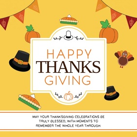 Yellow Animated Thanksgiving Greetings Square