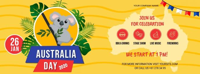 Yellow Australia Day Facebook Banner template