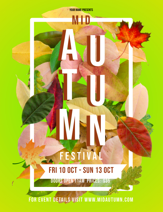 Yellow Autumn Festival Flyer Ulotka (US Letter) template