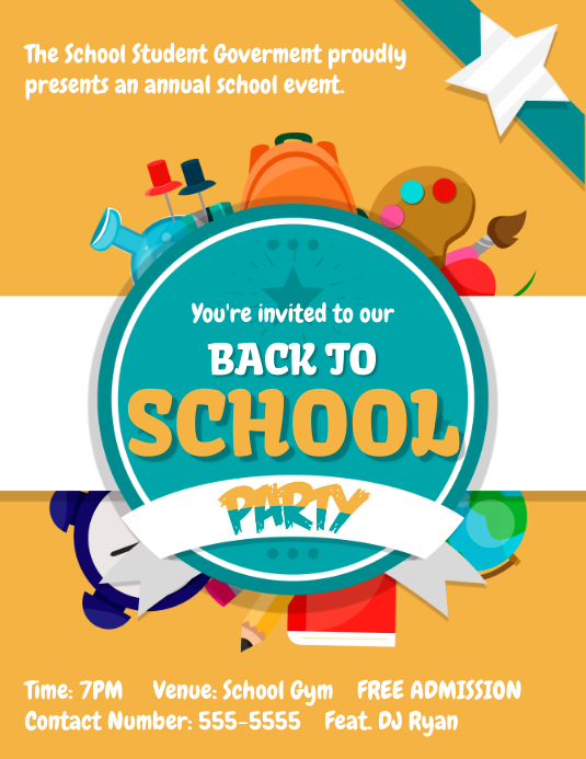 Yellow Back to School Party Flyer Template Folheto (US Letter)