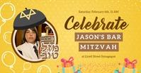 Yellow Bar Mitzvah Facebook Invitation template