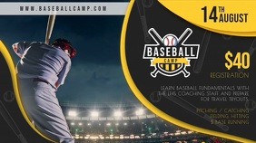 Yellow Baseball Camp Registration Video Banner