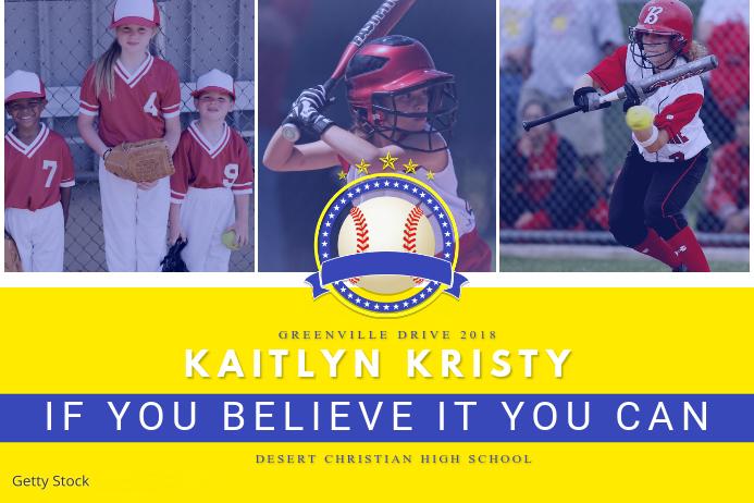 Yellow Baseball Collage Template