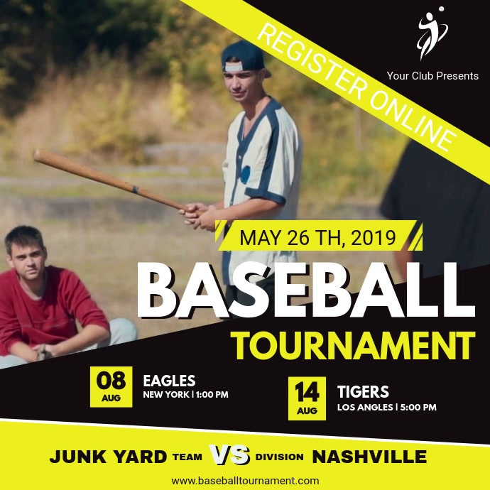 Yellow Baseball Event Registration Video Kwadrat (1:1) template