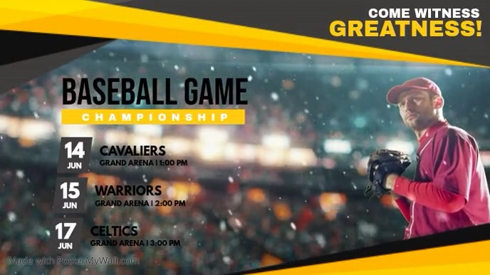 yellow baseball league game schedule template postermywall