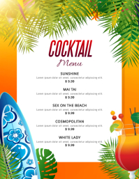 Yellow Beach Cocktails Menu Template