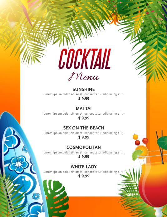 Yellow Beach Cocktails Menu Template Flyer (US-Letter)