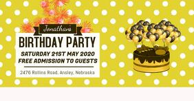 Yellow Birthday Invitation Facebook Banner
