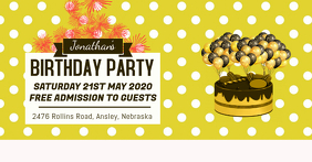Yellow Birthday Invitation Facebook Banner Facebook-gebeurtenisomslag template