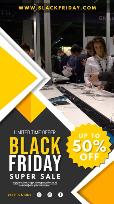 Yellow Black Friday Electronics Shopping Ad Digitalt display (9:16) template