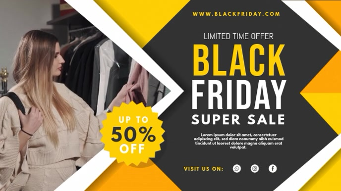 Yellow Black Friday Super Sale Digital Displa Digitalt display (16:9) template