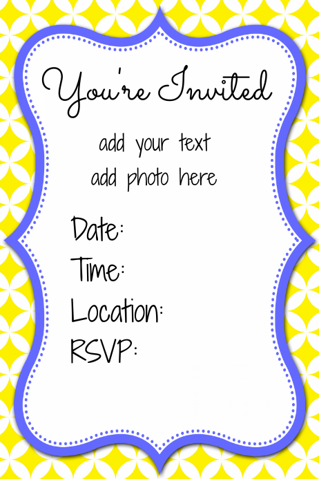 Yellow Blue Boys Party Invitation Event Flyer Summer Poster