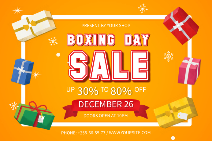 Yellow Boxing Day Landscape Poster template