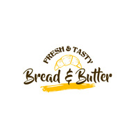 Yellow Bread and Butter Bakery Logo Template