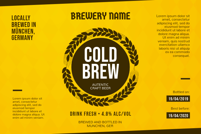 Yellow Brewerry Label template