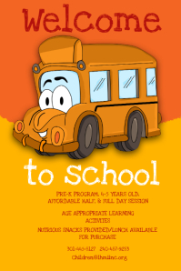 Yellow Bus Preschool Poster Template