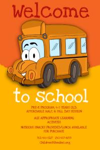 Yellow  Bus Preschool Poster Template