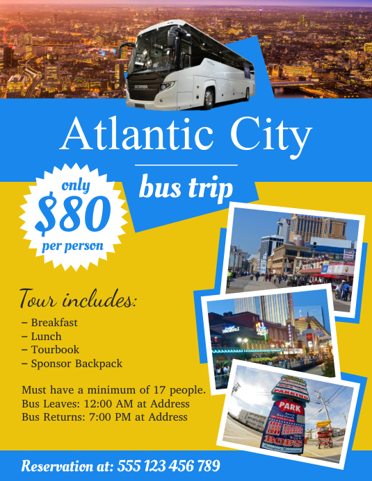 Yellow Bus Trip Flyer Template
