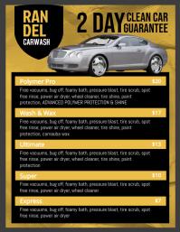 Yellow Car Wash Price List Templates