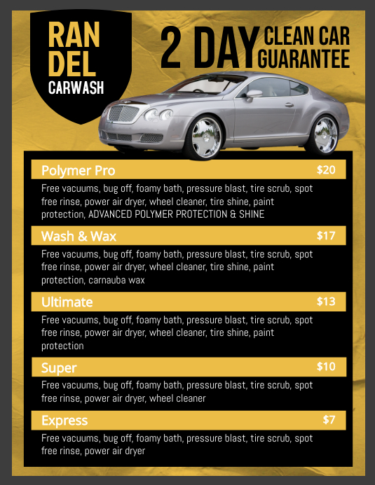 Yellow Car Wash Price List Templates