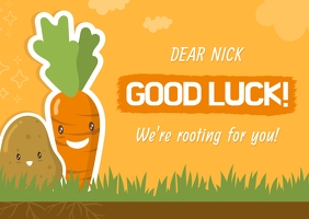 Yellow Carrot Themed Good Luck Card
