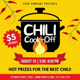 Yellow Chili Cook Off Contest Square Video template