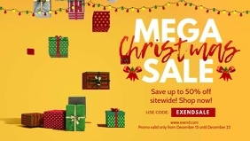 Yellow Christmas Mega Sale Banner Video
