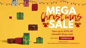 Yellow Christmas Mega Sale Banner Video