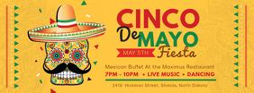 Yellow Cinco de Mayo Buffet Invitation Banner Facebook Cover Photo template