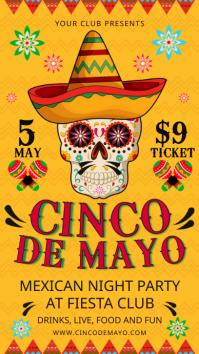 Yellow Cinco de Mayo Fiesta Invitation Ecrã digital (9:16) template