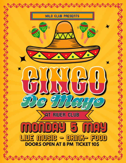 Yellow Cinco De Mayo Party Template Folder (US Letter)