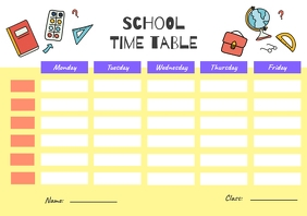 Yellow Class Timetable Schedule Template
