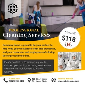 Yellow Cleaning Service Ad Square Video