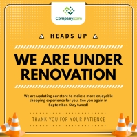 Yellow Closed for Renovation Instagram Image template