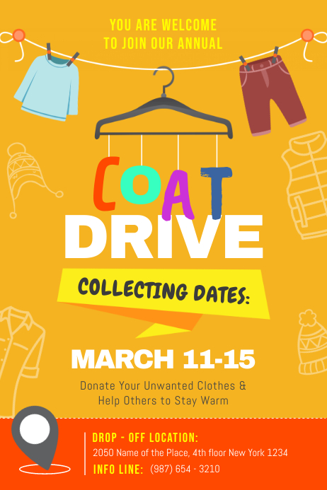Yellow Coat Drive Fundraiser Poster template