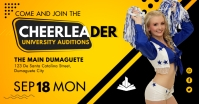 Yellow College Cheerleader Tryout Facebook Po template