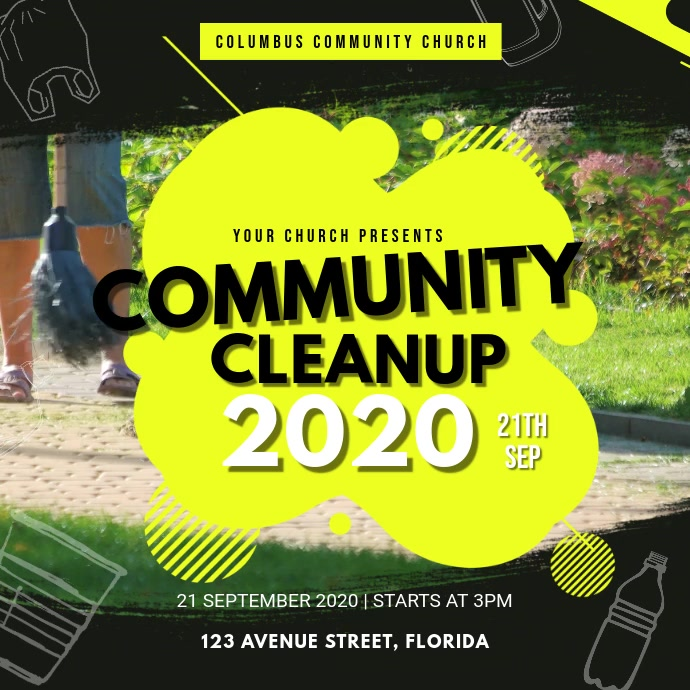 Yellow Community Park Cleanup Video Square (1:1) template