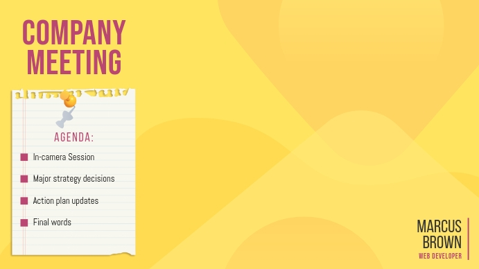 Yellow Company Meeting Zoom Background Image Præsentation (16:9) template