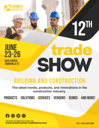 Yellow Construction Material Trade Show Flyer Løbeseddel (US Letter) template