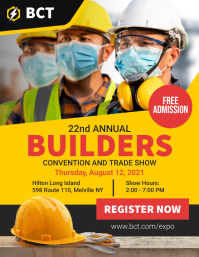 Yellow Construction Works Trade Show Flyer Te Løbeseddel (US Letter) template