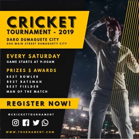 Yellow Cricket Tournament Online Advert Kvadrat (1:1) template